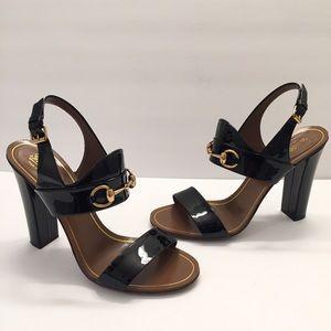 b1faf065f77 Gucci Women s Alyssa Black Patent Leather Sandals
